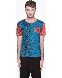 Originals x Opening Ceremony Red and Blue Animal Print Colorblocked Tshirt - Lyst