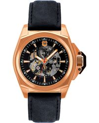 Andrew Marc - Mens Rose Gold Automatic Watch with Black Leather Strap - Lyst