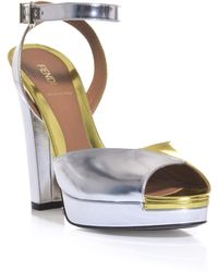 Fendi Bicolour Metallic Platform Sandals - Lyst