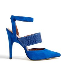 Sigerson Morrison Blue Suede Pointed Toe Brielle Pumps - Lyst