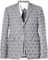 Thom Browne Whale Patterned Cotton Blend Blazer - Lyst