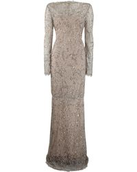 Marchesa Long Sleeve Beaded Lace Gown - Lyst