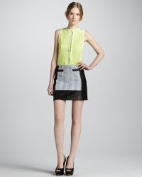 Nanette Lepore Graphic Design Leather Miniskirt - Lyst