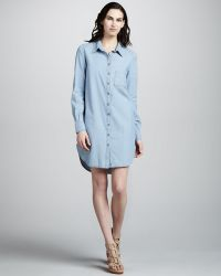 Paige Elliot Chambray Shirtdress - Lyst