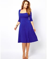Asos Curve Exclusive Jersey Midi Dress with 3/4 Sleeves - Lyst