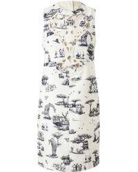 Carven Safari Printed Cotton-Blend Dress - Lyst