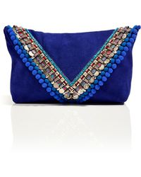 Matthew Williamson Electric Blue Suede Embellished Envelope Clutch - Lyst