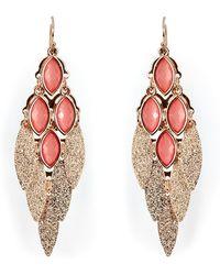 R.j. Graziano - Peach Gold Toned Flutter Leaf Chandelier Earrings - Lyst
