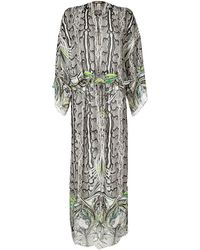 Roberto Cavalli Black Multi Belted Feather Print Dress gray - Lyst