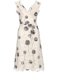Valentino Print Lace Dress white - Lyst