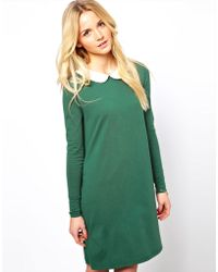 ASOS - Swing Dress with Peter Pan Collar and Long Sleeves - Lyst