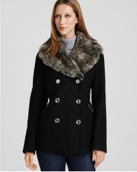 Laundry by Shelli Segal Short Wool Coat with Faux Fur Collar - Lyst