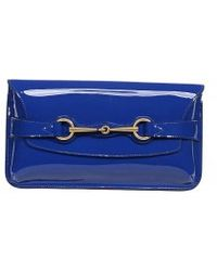 Gucci Patent Leather Clutch with Horsebit - Lyst