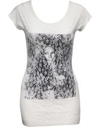 Jane Norman Lace Front Printed Tee - Lyst