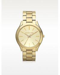 Michael Kors Runway Slim Gold Tone Watch - Lyst