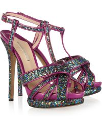 Nicholas Kirkwood Glitterfinished Patentleather Sandals - Lyst