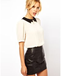 ASOS Collection Blouse with Contrast Lightening Collar - Lyst