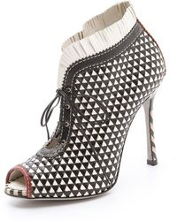 Sergio Rossi Woven Peep Toe Booties - Lyst