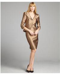 Kay Unger - Bronze Silkcotton Twill Threebutton Skirt Suit - Lyst