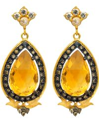 Sara Weinstock Citrine Diamond Pearshaped Deco Earrings - Lyst