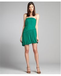 Vera Wang Lavender Emerald Pleated Silk Chiffon Ruffle Trim Strapless Dress - Lyst