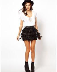ASOS Collection Asos Leather Fringe Mini Skirt black - Lyst