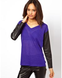 ASOS Collection Asos Top with V Neck and Pu Sleeves - Lyst