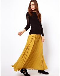 ASOS Collection Yellow Pleated Maxi - Lyst