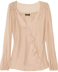 By Malene Birger Lace Trimmed Chiffon Blouse - Lyst
