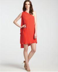 Halston Heritage One Shoulder Dress Pleated - Lyst