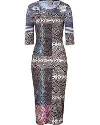 Preen By Thornton Bregazzi Greymulti Snake Print Stretch Jayne Dress - Lyst