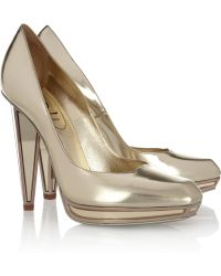 Saint Laurent Mirroredheel Metallic Leather Pumps - Lyst