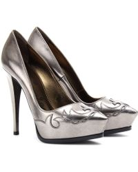 Lanvin Metallic Leather Platform Pumps - Lyst