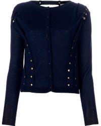 Nina Ricci Wool Cardigan blue - Lyst