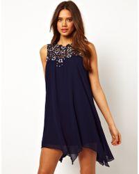 TFNC Swing Dress in Jewelled Crochet - Lyst