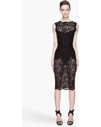 Pierre Balmain Black Lace Sheer Pipe Dress - Lyst