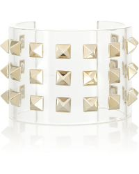 Valentino Studded Acetate Cuff transparent - Lyst