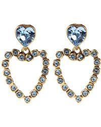 Oscar de la Renta Swarovski Heart Clip Earring - Lyst