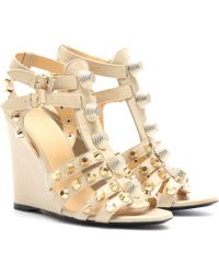 Balenciaga Suede and Leather Studded Wedges beige - Lyst