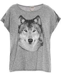 Haute Hippie Hungry Like The Wolf Sheer Tshirt gray - Lyst