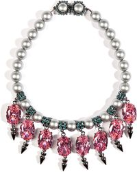 Mawi - Pearlized Necklace with Oval Stones and Spikes - Lyst