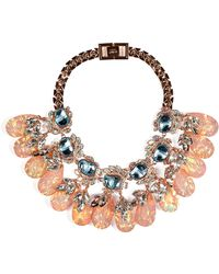 Mawi - Rosegold Plated Flower Necklace with Crystal Leaves and Teardrops - Lyst