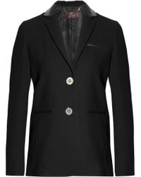 Mulberry Leather-Trimmed Wool-Crepe Blazer - Lyst