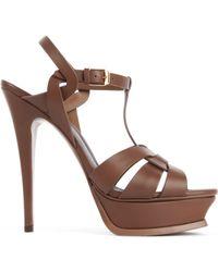 Saint Laurent Tribute Leather Platform Sandals - Lyst