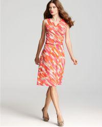 Anne Klein Color Block Print Dress - Lyst