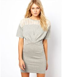 ASOS Collection | Knitted Dress with Lace Top | Lyst