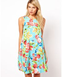 Asos Asos Sleeveless Swing Dress in Floral Print - Lyst