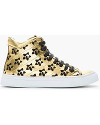 Rupert Sanderson - Metallic Gold Leather and Black Suede Diadem Sneakers - Lyst