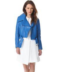 Mugler Leather Jacket - Turquoise - Lyst