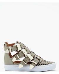 Nasty Gal Indie Hi Buckled Sneaker Gray - Lyst
